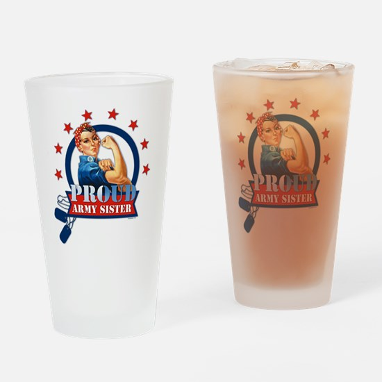 Rosie Proud Army Sister Drinking Glass