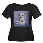 Tuff-Puppy Women's Plus Size Scoop Neck Dark T-Shi