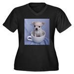 Tuff-Puppy Women's Plus Size V-Neck Dark T-Shirt
