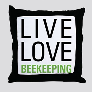 Live Love Beekeeping Throw Pillow