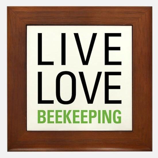 Live Love Beekeeping Framed Tile