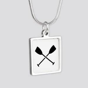 Crossed Paddles Silver Square Necklace