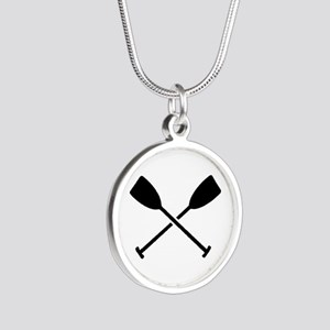 Crossed Paddles Silver Round Necklace