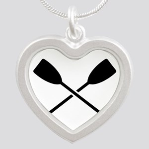 Crossed Paddles Silver Heart Necklace