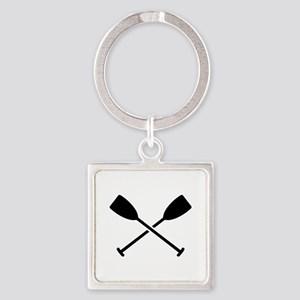 Crossed Paddles Square Keychain