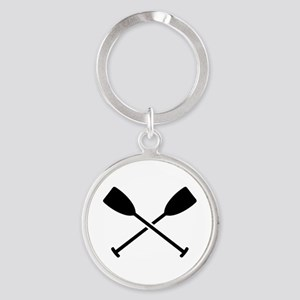 Crossed Paddles Round Keychain