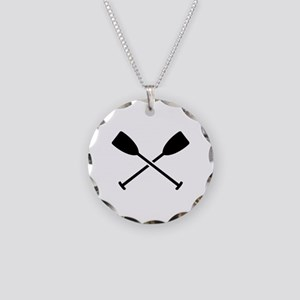 Crossed Paddles Necklace Circle Charm