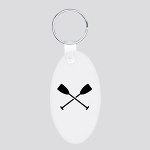 Crossed Paddles Aluminum Oval Keychain