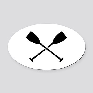 Crossed Paddles Oval Car Magnet