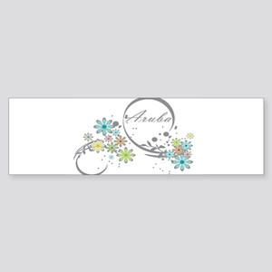 Aruba Floral Beach Graphic Bumper Sticker