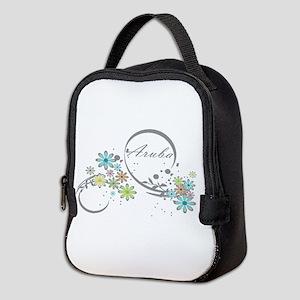 Aruba Floral Beach Graphic Neoprene Lunch Bag