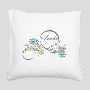 Aruba Floral Beach Graphic Square Canvas Pillow