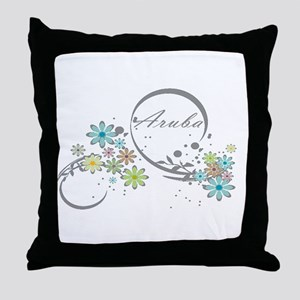 Aruba Floral Beach Graphic Throw Pillow