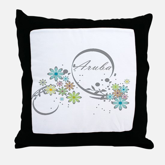 Aruba Floral Beach Graphic Throw Pillow