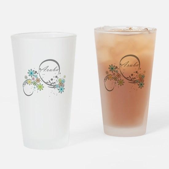 Aruba Floral Beach Graphic Drinking Glass