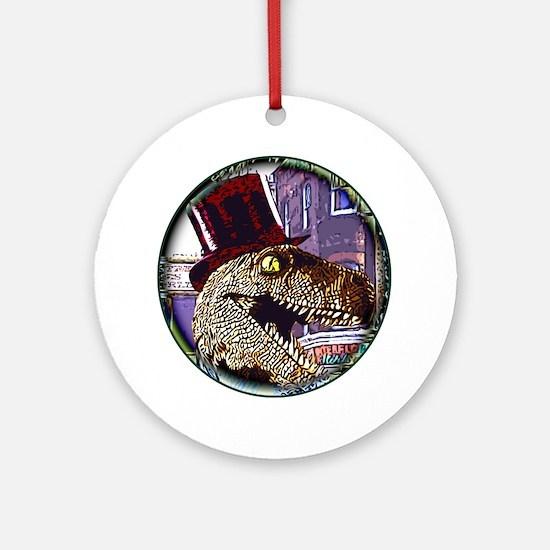 Dinosaur night life round Round Ornament