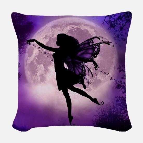 Midnight Stroll Fairy Woven Throw Pillow