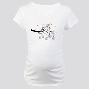 tree branch with birds and birdcages Maternity T-S