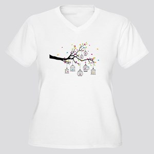 tree branch with birds and birdcages Plus Size T-S