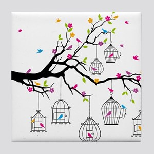 tree branch with birds and birdcages Tile Coaster