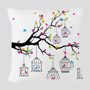 tree branch with birds and birdcages Woven Throw P