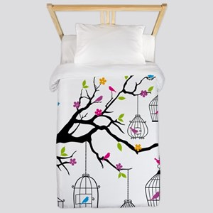 tree branch with birds and birdcages Twin Duvet