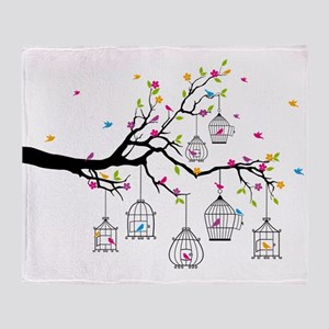 tree branch with birds and birdcages Throw Blanket