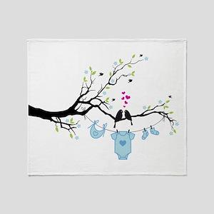 new baby boy, baby shower design Throw Blanket
