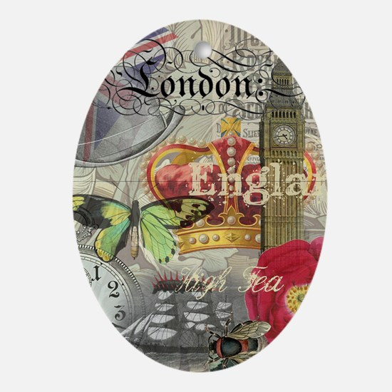 London England Vintage Travel Collage Ornament (Ov
