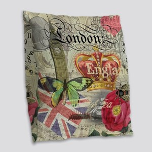 London England Vintage Travel Collage Burlap Throw