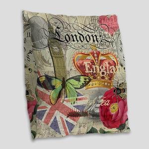London England Vintage Travel Collage Burlap Throw