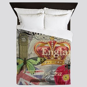 London England Vintage Travel Collage Queen Duvet