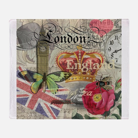 London England Vintage Travel Collage Throw Blanke