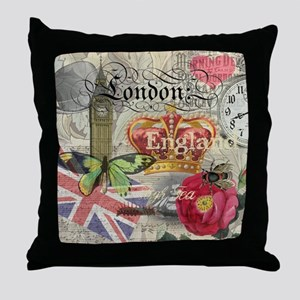 London England Vintage Travel Collage Throw Pillow