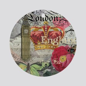 London England Vintage Travel Collage Ornament (Ro