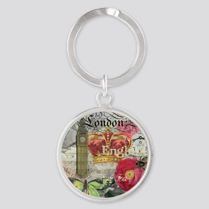 London England Vintage Travel Collage Keychains