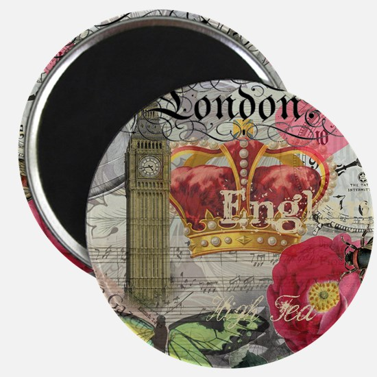 London England Vintage Travel Collage Magnets
