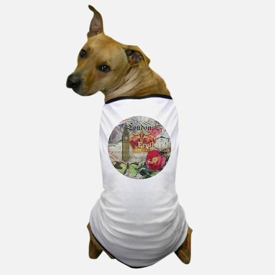 London England Vintage Travel Collage Dog T-Shirt