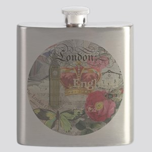 London England Vintage Travel Collage Flask
