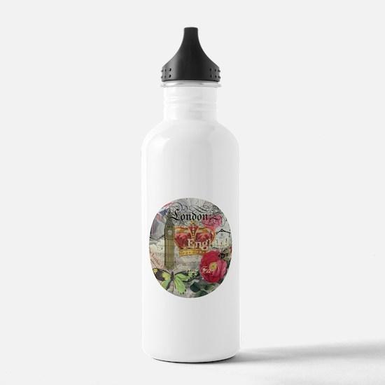 London England Vintage Travel Collage Water Bottle