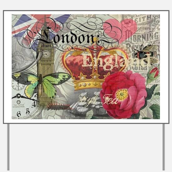 London England Vintage Travel Collage Yard Sign