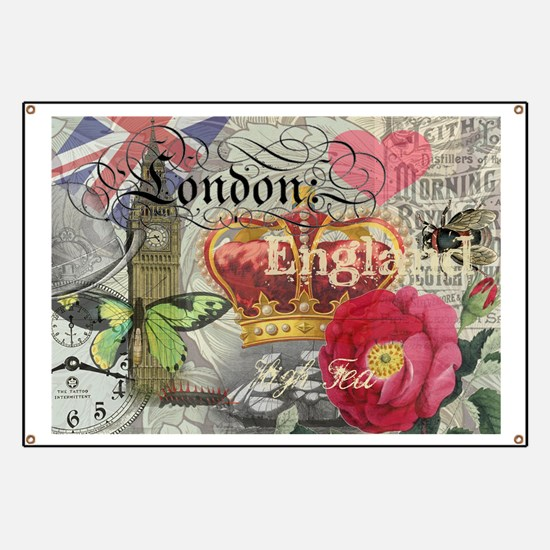 London England Vintage Travel Collage Banner