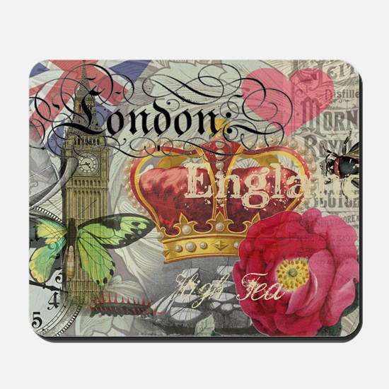 London England Vintage Travel Collage Mousepad