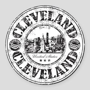Cleveland Stamp Round Car Magnet