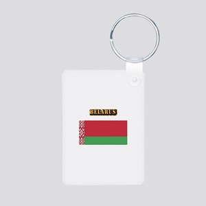 Belarus With Text Aluminum Photo Keychain