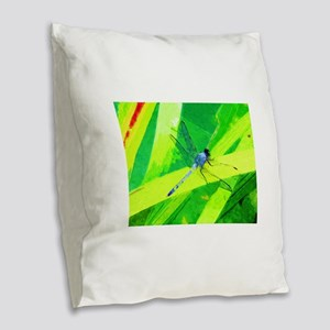 Blue Dragonfly on Green Abstract Impressionism Bur