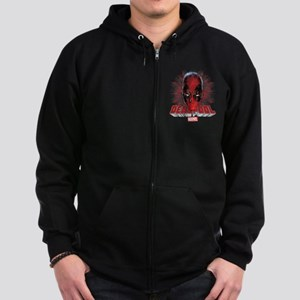 Deadpool Face 2 Zip Hoodie (dark)