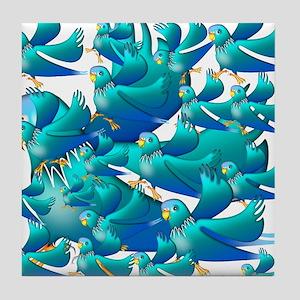 Blue Parakeets Tile Coaster