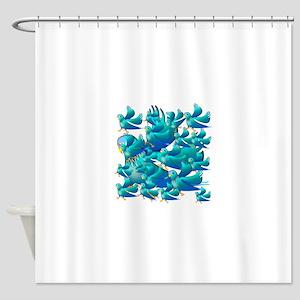 Blue Parakeets Shower Curtain