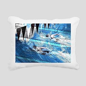 Swim meet in blue Rectangular Canvas Pillow